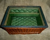 Wicker Basket Quilted Lining Mark Cross England English antique vintage sewing jewelry storage