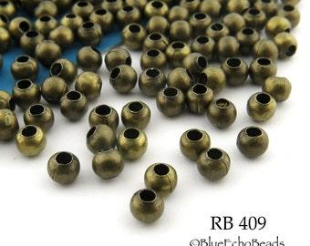 3mm Tiny Round Antique Brass / Bronze Beads Small, Mini Beads (RB 409) 95 pcs BlueEchoBeads