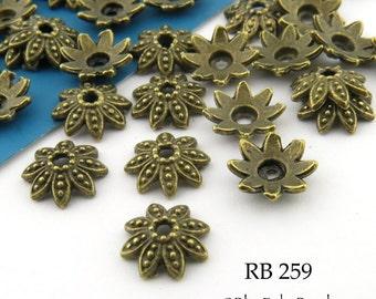 Small 7mm Antique Brass Bead Cap, Flower Bead Cap, Antique Bronze (RB 259) 36 pcs BlueEchoBeads