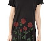 Red Rose Dress, Alternative Tee Dress, Tunic, Roses Dress, Gift for Her