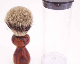 Cocobolo Wood 16mm Silvertip Badger Travel Brush  (Handmade in USA)C3 - Gift for Him - Executive Gift - 5th Anniversary - Wood Shaving Brush