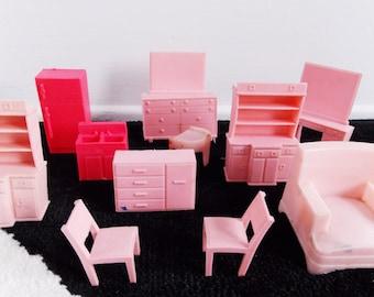 Lot miniature furniture set/ 11 pieces mid century modern doll house furniture/ vintage 1950s miniature mad men furniture