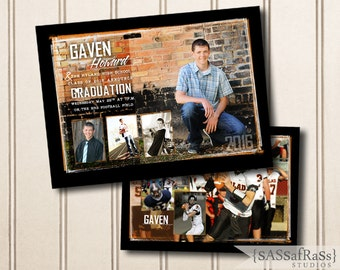 The Gaven--5x7 ADOBE PHOTOSHOP Graduation Announcement Template for Photographers, DIY, Graduation Party Invite, Open House