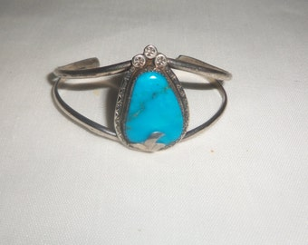 Vintage Sterling Silver Turquoise Cuff Bracelet 925 Navajo 1911 JF