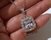 Square Bridal Necklace, Princess Cut Cubic Zirconia Jewelry, Pave Cz Necklace, DIAMANT