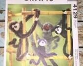 Mccalls 4129 Funky Monkeys OOP Sewing Crafts Pattern UNCUT