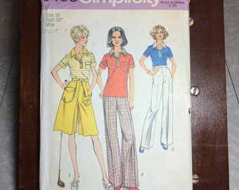 6408 Simplicity Sewing Pattern 1970's Womens top, pantskirt and wide-leg Pants Size 16 Bust 38""