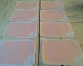 Vintage Tea Time Napkins Coasters Pink and Heart Lace Set of 8