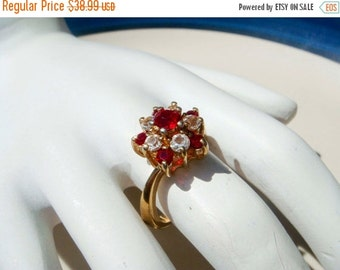 Summer Clear Out SALE Vintage 14K Gold HGE Ruby Esposito Ring size 7
