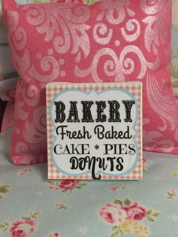 "Miniature Bakery Fresh Baked Sign 2""x2"" canvas"