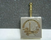 Vintage Seattle Worlds Fair 1962 Portable Mini Ashtray Box w/ Handle Silent Butler Rare Souvenir
