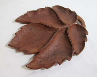 Stunning Carved Wooden Leaf Serving Tray Sectioned Dish