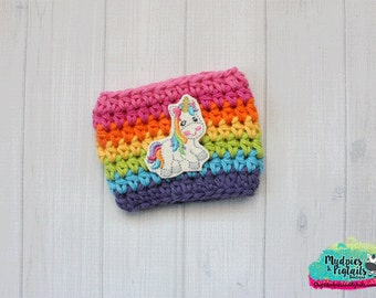 Coffee Cozy { Rainbow Sparkle Unicorn } rainbow cup sleeve, knit mug sweater, stocking stuffer, rainbow birthday, treat bags