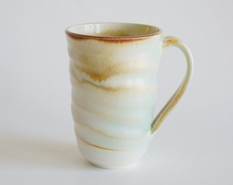 Tall Creamy White, Turquoise and Rust Mug - Tall Porcelain Cup - Tall Ceramic Mug