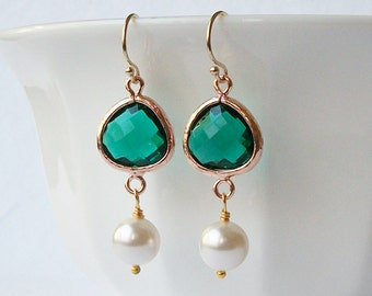 ON SALE Emerald Green Crystal Pearl Rose Gold Dangle Earrings