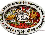 Custom traditions storyart large or extra large ceramic family platter Thanksgiving