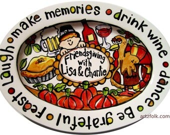 Custom traditions story art large or extra large ceramic family platter Thanksgiving