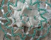 Clearance Sale!!!! - Kippah For Women - Teal Glass Beads - Beaded Kippah For Women.