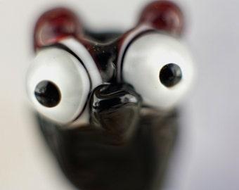 Hooooover........... lampwork owl bead....... sra