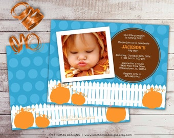 Pumpkin Photo Birthday Invitation - Printable 1st Birthday Invitation - Fall Birthday Invitation - Orange Pumpkins - BD154