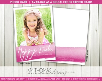 Easter Printable Photo Card : Personalized Photo Easter Card - Plum Watercolor - Easter Holiday Card - Item EA103