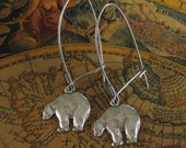Silver Bear Earrings Vintage bear jewelry woodsy necklace black bear animal guide nature jewelry nature lover polar bear earrings handmade