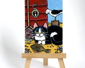 Original ACEO Tuxedo Cat Seaside Beach Hut Gull Fishing Plaice - Whimsical Art Illustration