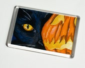Black Cat & Spooky Pumpkin Lantern - Halloween Cat Art JUMBO Fridge Magnet - Cat Lover Gifts