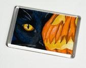 Black Cat & Spooky Pumpkin Lantern - Halloween Cat Art JUMBO Fridge Magnet - Cat Lover Gifts