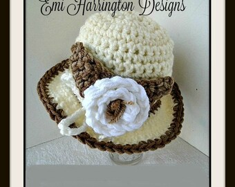 crochet pattern hat,  Sunhat, Beanie, #991 - Newborn - 6 yrs- Crochet child's hat, crochet flower, toddler, baby, children's hat Hectanooga