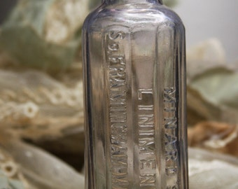 Antique Bottle- Minard's LINIMENT- Ridged with Bubbles- Late 1800's- Apothecary Medicine