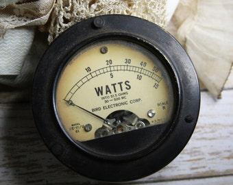Salvaged Watts Volt METER- Industrial Black Gauge- Vintage Bird Electronic Corp.- Numbers G-10
