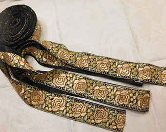Art Deco GOLD ROSE & BERRIES Embroidered Trim on Black Satin, Dark Orange Outlines, Jacket Purse Hat Pillow Camera Strap 1930s India Made 35
