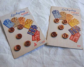 "2 LUCKYDAY BUTTON Cards, Retro Art, 10 Sport Shirt Buttons Seal Brown 3/8"", 5 per Card, Unused 1950s Sewing Stash Stock, Collection Collage"
