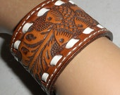 Leather Cuff Bracelet with Acorn Leaf Design White Stitching Boho Hippie Western Unisex