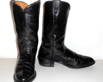 Mens 10 D Cowboy Boots Black Leather Vintage Western Rockabilly Wolverine Indie Shoes