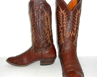 Distressed Nocona Cowboy Boots Brown Mens Size 8 D / Womens 9.5 Western Wear