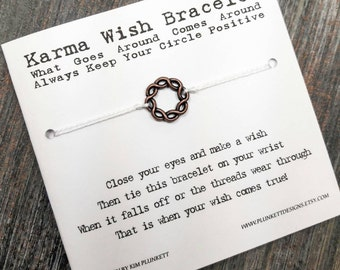 Karma Wish Bracelet - Available In Over 100 Different Colors!!!  (Woven Circle Charm - Copper)