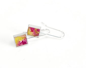 Hey Hey Earrings fuchsia and chartreuse marbled resin and sterling silver earring- colorful summer bright