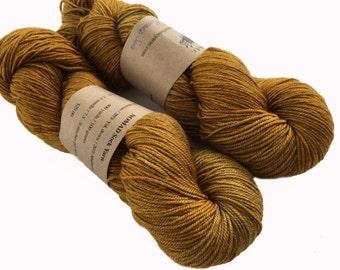 yak sw merino silk yarn, hand dyed, fingering weight, NOMAD , 400 yds, 'Mustard Seed '