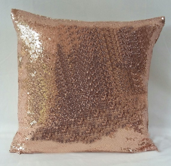 rose gold sequin pillow Rose gold pillow cover metallic