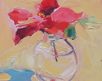 Red--floral--red flower in vase-impressionistic painting--expressive flower painting