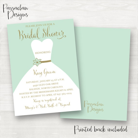 Mint Bridal Shower Invitation | Bridal Shower Invitation | Dress Bridal Shower Invitation | Mint | Gold | Mint and Gold | BS03