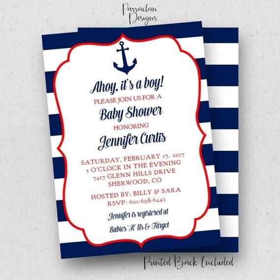 Nautical Baby Shower Invitation | Ahoy it's A Boy Baby Shower Invitation | Red | Blue | Anchor | Navy |Printable | Digital | Baby56