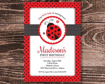 Ladybug Party Invitation – Printable Personalized – Classic Red and Black (Digital File)