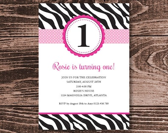 Pink Zebra Birthday Party Invitation – DIY Printable Personalized (Digital File)