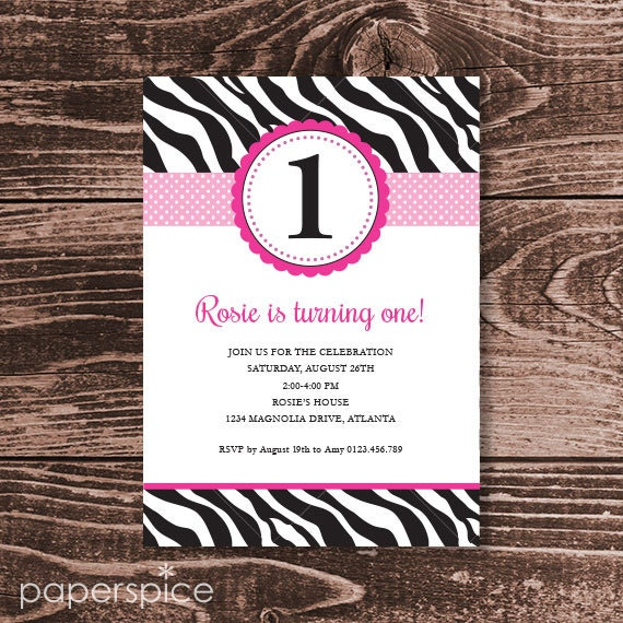 Pink Zebra Birthday Party Invitation DIY Printable