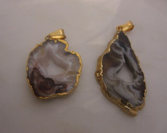 2 Geode Slice Pendants, Geode Slice Charms, Druzy Slice, 14k Electroplated Gold Edges, Oco Geode Jewelry