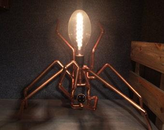 Large copper spider lamp