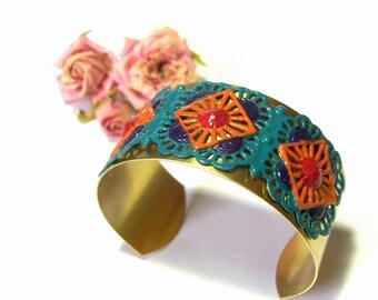 Hand Painted Brass Filigree Cuff Bracelet Chic Boho Style Cuff  Jewelry Cuffs Top Selling Jewelry Most Popular Jewelry
